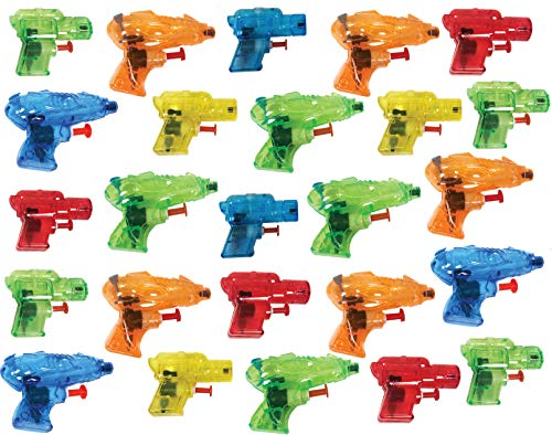 Present Avenue Mini Colorful Squirt Water Guns Blasters for Kids Birthday Party Favors, Pool Beach Toys, (25 Pack)