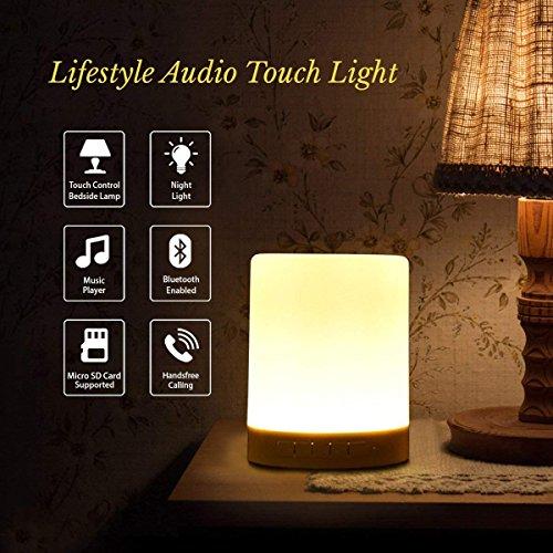 Lumière De Nuit Haut-Parleur Bluetooth, Capteur Tactile Lampe De Table De Chevet, Lumière Changeante De Couleur De Nuit, Lampe De Bureau USB avec MIC Support AUX, TF Card