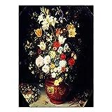 REDWPQ Decoración del hogar Impresiones de Carteles Arte de la Pared Pinturas sobre Lienzo Cuadro Flor clásica Antigüedad Bodegones Pintura al óleo Rosa sin Marco 30X40 cm Yh3764