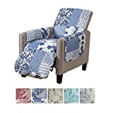 Great Bay Home Patchwork Scalloped Printed Furniture Protector. Stain Resistant Recliner Cover. (Recliner, Navy)