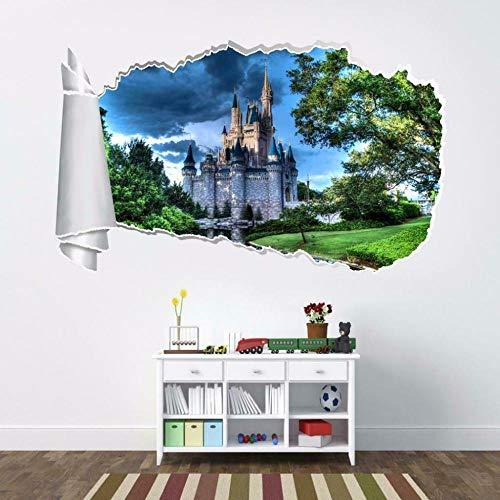 Pegatinas de pared Castillo rasgado agujero rasgado etiqueta de la pared calcomanía decoración del hogar arte mural WT46 Póster Arte 3D Mural 50x70cm