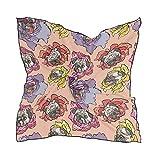 Ahomy pañuelos cuadrados para perro, pug, flor, para mujer, cuello de cabeza, bufanda, bandana, 60 cm x 60 cm