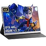 4Kモバイルモニター 13.3インチ モバイルディスプレイ 3840*2160@60hzUHD ゲーミングモニター USB Type-C/miniHDMI IPSパネル 非光沢 薄型/軽量 狭額 PS4/PS5/XBOX/Switch/PCなど対応 VESA対応