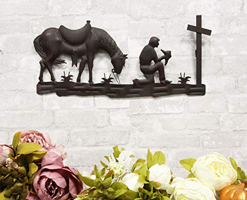 """Ebros Gift 21"""" Wide Wild West Kneeling Cowboy with Horse in Solemn Prayer by The Cross Metal Aluminum Wall 3D Art Sign Plaque Inspirational Vintage Western Country Decor Sculpture"""