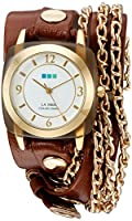 La Mer Collections Women 'sクオーツゴールド調andレザーWatch , Color : Brown ( Model : lmmulti2016313 )