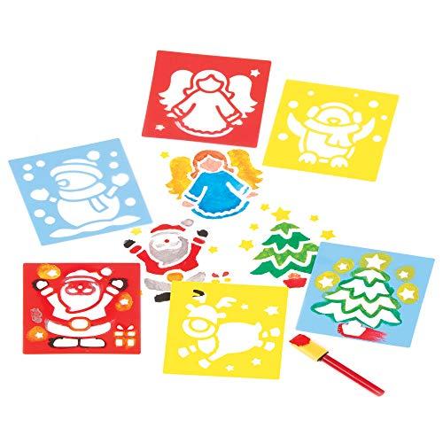 Baker Ross EF298 Schablonen mit Weihnachtsmotiven für Kinder-6 Stück