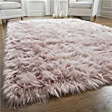 Gorilla Grip Premium Faux Fur Area Rug, 6x9, Fluffy Sheepskin Shag Carpet Accent Rugs for Bedroom and Living Room, Luxury Indoor Home Decor, Bed Side Floor Plush Carpets, Rectangle, Dusty Rose