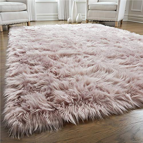 Gorilla Grip Premium Faux Fur Area Rug, 2x4, Fluffy Shag Carpet Accent Rugs for Bedroom and Living Room, Luxury Indoor Home Decor, Bed Side Floor Plush Carpets, Rectangle, Dusty Rose