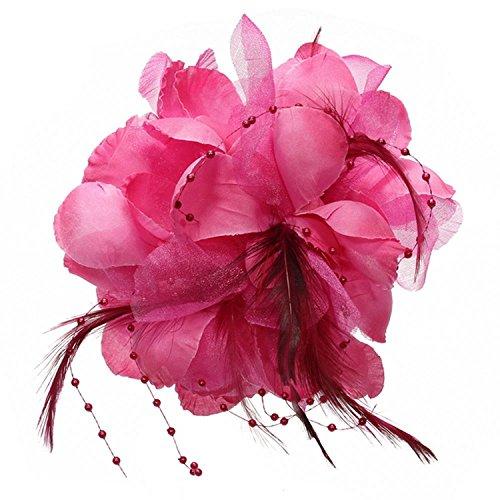 Cikuso Pin Broche Pluma Tela Forma de Flores Fucsia para Mujer Chica Regalo