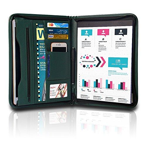 TYSON Padfolio Resume Portfolio / Business Portfolio PU Leather Document Storage Zippered Portfolio Binder with Writing Pad Card Holder amp Phone Slot