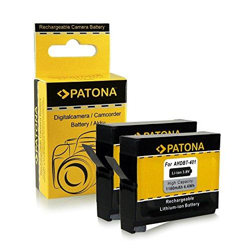 PATONA 2x Batterij AHDBT-401 compatibel met GoPro Hero 4