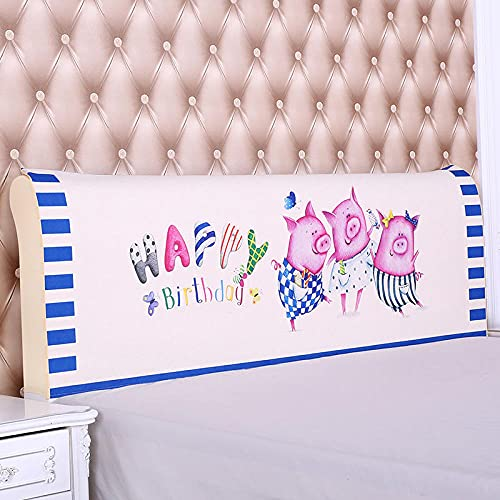 Fundas Cabecero De Cama Cubierta 150 cm Cerdo Animal Blanco Terciopelo Cubierta Cubierta De La Cabecera Lavable De Cama Decoracin del Dormitorio Tamaño Universal Fácil de Reemplazar