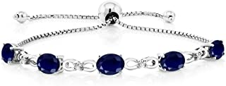 Gem Stone King 925 Sterling Silver Sapphire and Diamond Adjustable Tennis Bracelet 5.10 Ctw Oval Gemstone Birthstone