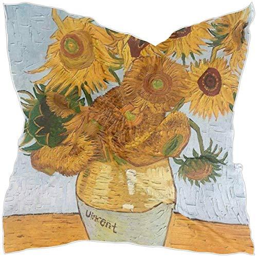 N/A Zijden Haar Sjaal Van Gogh Vaas Met Twaalf Zonnebloemen Nek Sjaal Halsdoek voor Vrouwen