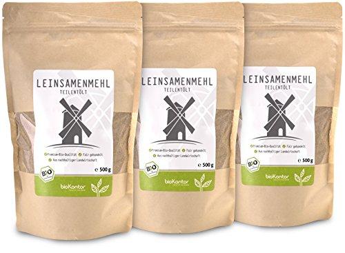 bioKontor // Leinsamenmehl, Leinmehl - teilentölt, low carb, Omega-3-Fettsäuren - 3x500 g - BIO (1500g)