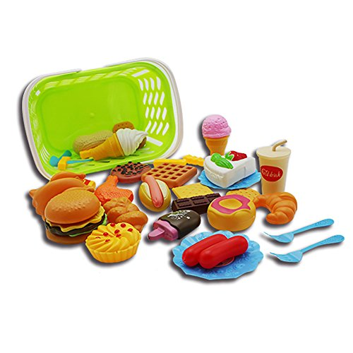 Metermall Nieuwe Plastic Fast Food Speelset Mini Hamburg Frietjes Hot Dog Ice Cream Cola Voedsel Speelgoed voor Kinderen Fantasiespel Cadeau voor kinderen 35 sets met manden
