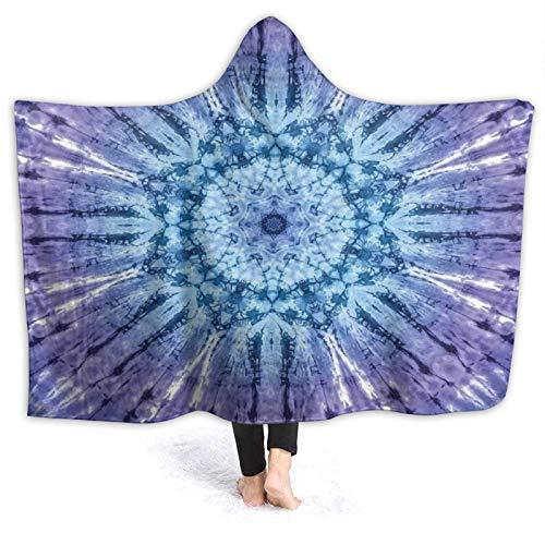 HARXISE Manta con Capucha,Tie Dye Círculo Original Mandala Motivo Centrado Color espectral Vibrante Gráfico de Movimiento,Suave Siesta ponible Mantas de Viaje/Vacaciones/Casual 60x50