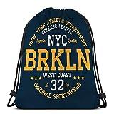 KKs-Shop Mochila con cordón Bolsa Bolso de Hombro para IR de excursión Nadar Nueva York Brooklyn Tipografía Ropa Atlético Estampado de Ropa Producto Insignia
