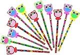 com-four 12x Bleistifte mit Gummi-Aufsatz in Eulenform, 19 cm, Ø 0,8 cm, Härtegrad 2B, Ideal als Mitgebsel oder für die Schule, Giveaway Set (12 Stück - Eule)