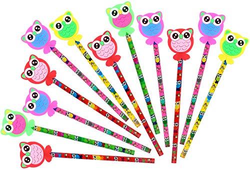 com-four® 12x Bleistifte mit Gummi-Aufsatz in Eulenform, 19 cm, Ø 0,8 cm, Härtegrad 2B, Ideal als Mitgebsel oder für die Schule, Giveaway Set (12 Stück - Eule)