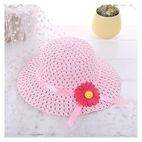 TangMengYun Sombrero para el Sol Sombrero de Verano 1-6Y bebé niños niña Flor Floral Visa de Paja Sol Sombrero de Playa Viaje Sombreros Mujeres (Color : PK)