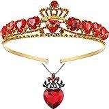 2 pezzi rosso cuore collana e corona set include 1 pezzo rosso cuore regina collana 1 pezzo rosso cuore tiara rubino…