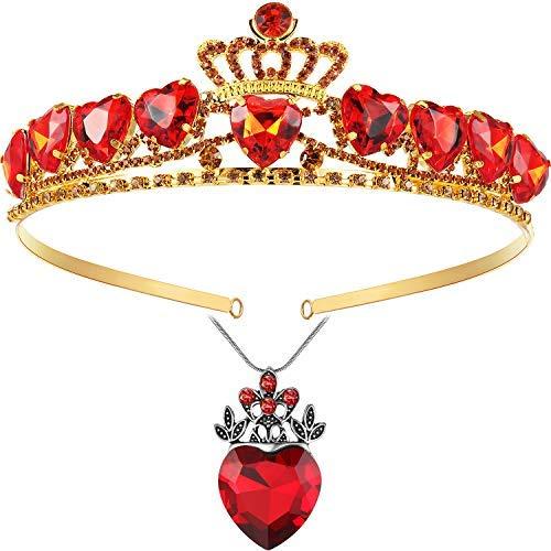 El juego de 2 piezas de collar y corona de corazn rojo incluye 1 pieza de collar rojo de la reina del corazn 1 pieza rojo Tiara Ruby..