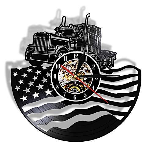 GodyGT Orgulloso USA Farmer Tractor Trailer Reloj de Pared Tractor Bandera Americana Disco de Vinilo Reloj de Pared Decoración de la Granja Regalo de los Agricultores patrióticos