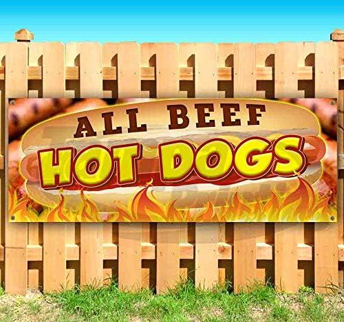 All Beef Hot Dogs 13 売却 oz Vinyl Banner Heavy-Duty S Non-Fabric 正規取扱店