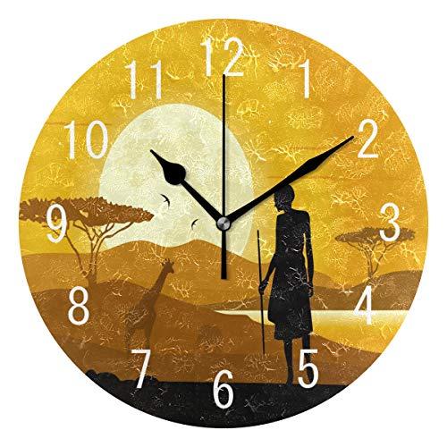 Use7 Wanduhr, afrikanische Landschaft, Giraffe, Sonnenuntergang, rund, Acryl, Nicht tickend, geräuschlose Uhr, Kunst für Wohnzimmer, Küche, Schlafzimmer