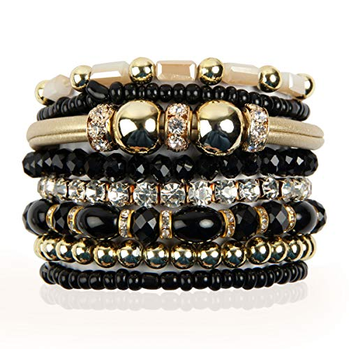 RIAH FASHION Multi Layer Strand Sparkly Stack Bracelets - Rhinestone Crystal Colorful Beaded Statement Stretch Adjustable Bangle Set (Leatherette Mix - Black)