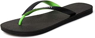 Slippers for Men Summer Outdoor Waterproof Flip-Flops Arch Support Casual Slip On Flat Sandals PU Leather Fashion Pool Slides Lightweight Flexible Flats v916 (Color : Green, Size : 6.5 UK)