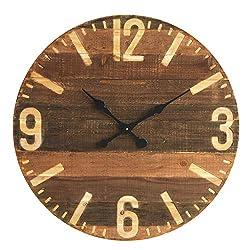 Creative Co-op Round Laser Cut Wood Wall Clock