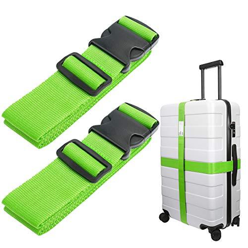Luxebell da viaggio cinghie bagagli imballaggio cintura valigia cinghie regolabile sicurezza 60 x 200cm, 2-pack(Nero) (Verde)