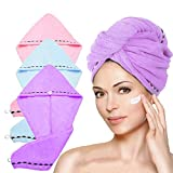 LayYun Hair Towel Wrap for Women, 3 Pcs Microfiber Super Absorbent Quick Dry Hair Turban for Drying Curly, Long & Thick Hair (Blue+Pink+Purple)