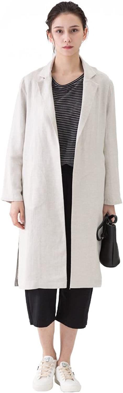 Amazhiyu Women Linen Longline Trench Coat 3 4 Sleeve Open Front Jacket Lightweight for Autumn Spring 2018