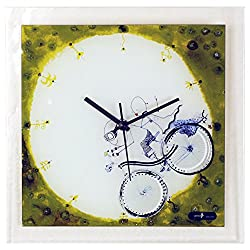 River City Clocks Glass Wall Clock with Boy and Girl on Bicycle
