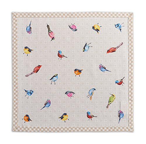 Maison d'Hermione Birdies on Wire 100% Coton Doux et Confortable Lot de 4 Serviettes Parfait pour Dîner de Famille | Mariages | Cocktail | Cuisine | Accueil | Printemps/Été (45 cm x 45 cm)