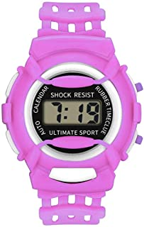 QIGUANDZ Kids Digital Watch - Waterproof LED Sport Hand Watch with Alarm, Electronic Wristwatch with Silicone