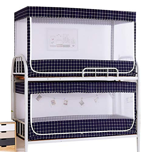 CHHBOX Totalmente Cerrado/Estudiante Litera Cama Mosquitera/Cama Doble Cortina Circular De Malla/Mosquitera Impregnada-Estrellas, DiseñO de Rejillas,Blue-A-0.8x1.9x0.9m