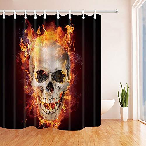 ottbrn Terror Decor brandende schedel douchegordijn polyester stof badkamer decoraties bad gordijnen haken inbegrepen 72X72 inch