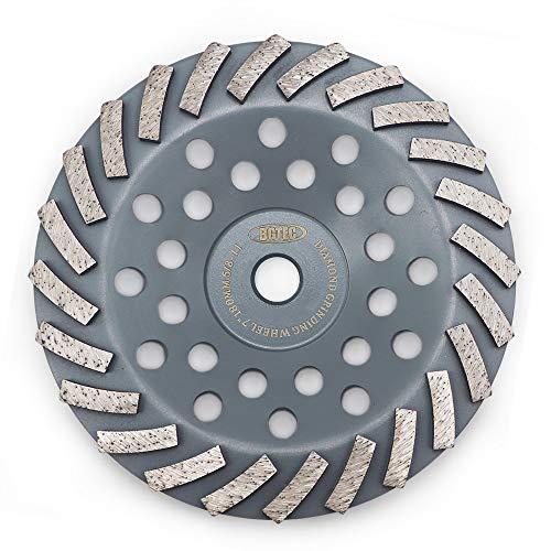 Grinding Wheels for Concrete and Masonry,BGTEC 1pc 7 Inch 24 Turbo Diamond Segments Diamond Grinder Disc with 5/8'-11 Arbor