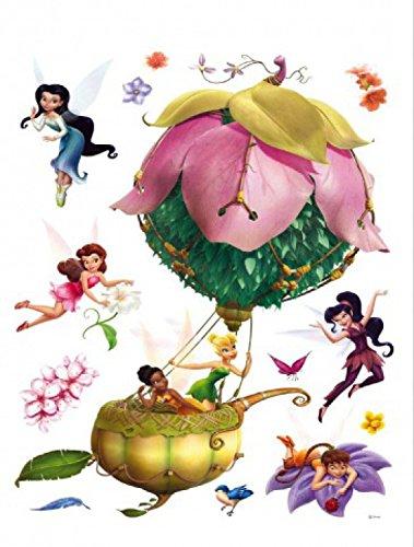 1art1 Disney Fairies - Fahrt Im Heißluftballon Wand-Tattoo | Deko Wandaufkleber für Wohnzimmer Kinderzimmer Küche Bad Flur | Wandsticker für Tür Wand Möbel/Schrank 85 x 65 cm