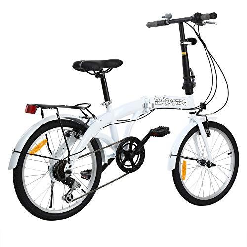 MuGuang Faltbares Fahrrad 20 Zoll 7 Gang Faltmaschine mit LED-Batterielampe der Hinteren Halterung Folding Bike (White) - 5