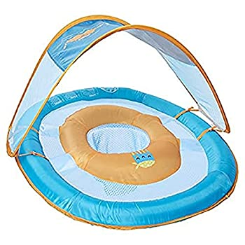 SwimWays 11649 Baby Spring Float Activity Center with Sun Canopy Green Fish