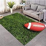 Rugby sur l'herbe Tapis Imprimé 3D Salon Tapis Antidérapant Chambre Chevet Tapis De Jeu Tapis Rampant80Cmx150Cm