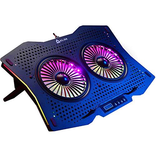 """KLIM Halo + Base de refrigeración para portátiles RGB - 11"""" a 17"""" + Refrigeración para portátil Gaming con Ventilador USB + Estable y silenciosa + Compatible con Mac y PS4 + Nueva 2021"""