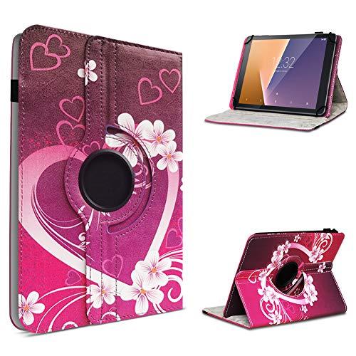 UC-Express Tablet Hülle kompatibel für Vodafone Tab Prime 6/7 Schutzhülle aus Kunstleder Tasche mit Standfunktion 360° drehbar Universal Cover Hülle, Farben:Motiv 2