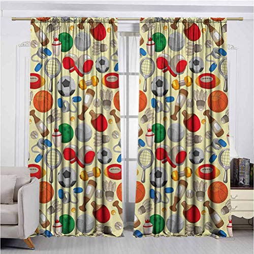 Annery Sport Heat Insulation Curtain Cartoon Drawing Style Sporting Goods Balls Bowling Tennis Ping Pong Boxing Football for Living Room or Bedroom W72 x L96 Inch Multicolor
