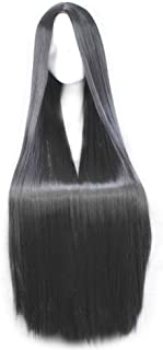 SMUSTY Women Anime Cosplay Wigs 100cm 39.4inch Long Straight Synthetic Full Rose Network Lace Wigs for Women( Black )